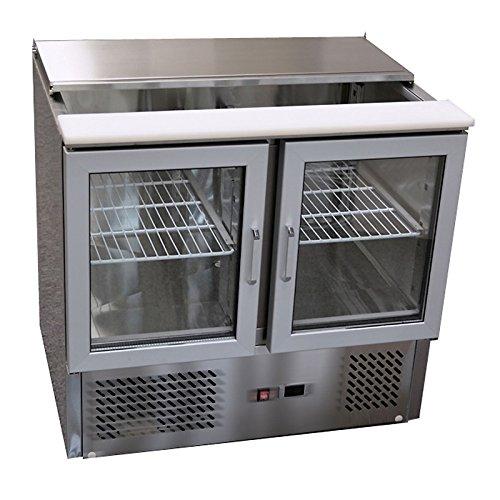 Allpax® Edelstahl Saladette mit Schiebedeckel, Schneidplatte und Glastüren