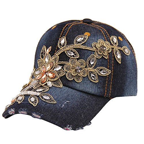 Mode Retro-Prägung Blume Denim Style verstellbare Baseball Cap Frauen Girls Hip Hop Hut Dunkel Blau