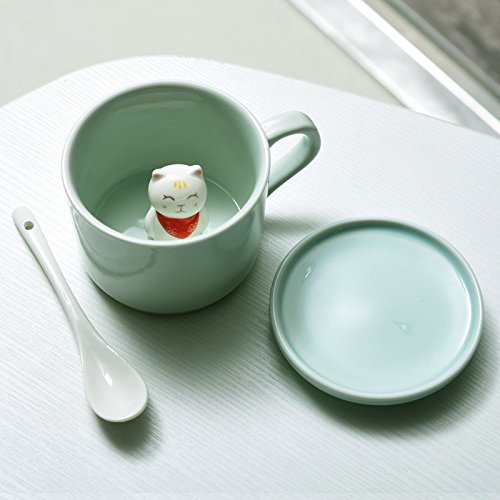 BOOMZZ Keramiktasse 3D Stereo Handbemalt Tierbecher Kaffeetasse Seladon Teetasse 230Ml 11.6 cm X 8.7 cm X 6.5 cm Caicat (Ohne Deckellöffel)