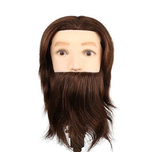 Tête à Coiffer Mannequin Homme d'Exercice Coiffure avec Barbe - 80% Cheveux Naturel et 20% Cheveux Animaux Pour Etude Professionnel dans la Cosmétologie - Brun - Besmall