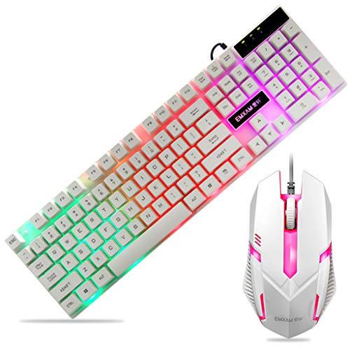 EAPTS Mechanische Tastatur, wasserdichte Maus, USB-verkabelt, Gaming-Zubehör für Microsoft HP LG PC Laptop Tablet Win XP/7/8 Mac10.2 Weiß weiß Show Hp Xp Notebook-pcs