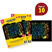 Toiing Doodletoi Return Gift Combo - 10 Packs of Magical Colourful Scratch Art Drawing Papers (1 Pack = 3 Sheets)