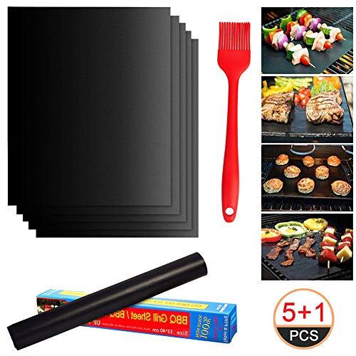 MACUNIN BBQ Grillmatte, Wiederverwendbar Antihaft Backmatte, Grillmatten für Gasgrill, Holzkohle& Backofen, Perfekt für Fleisch, Fisch und Gemüse, 5er Set (40x33cm) und 1 Grillbürste
