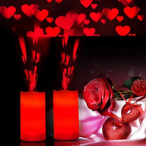 KOBWA LED Projektions Lampe Rotierenden Timer Fernbedienung Künstliche Kerze Projektionslicht für Weihnachtsfeiertagsfeier(Roter Herz projektor)
