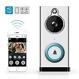 Sonnette vidéo Wifi, Sonnette sans fil ELEPOWSTAR 720p HD 2.4 Ghz Wi-Fi Sonnette vidéo étanche avec caméra, capteur de mouvement PIR, fonction de vision nocturne IR, USB rechargeable