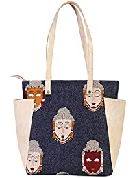 Women's Printed Tote Bag/Shoulder Bag With Two Side Pockets From Decorous(MultiColour)