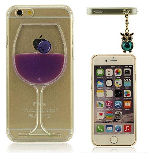 Coque pour iPhone 6 Plus (5.5 Pouce), Verre Vin Forme, étui pour iPhone 6S Plus, Polychrome Liquide, Haute Transparence Cristal Clair iPhone 6 Plus & 6S Plus Case Cover + Assez Animal Apparence Penden Pourpre