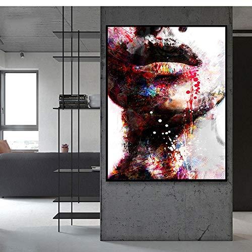 Abstrakte wandkunst leinwand ölgemälde Frau Bunte Lippen Hals wandmalerei Poster drucken Hotel Gang Wohnzimmer Dekoration rahmenlose 50x75 cm