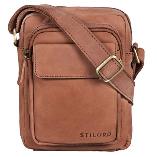 STILORD 'Jannis' Leder Umhängetasche Männer klein Vintage Messenger Bag Herren-Tasche Tablettasche für 9.7 Zoll iPad Schultertasche aus echtem Leder, Farbe:Sattel - braun -