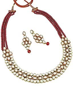 Shining Diva Traditional Kundan Necklace Jewellery Set with Earrings for Women