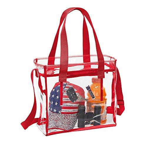 Yiuswoy Transparent Strandtasche Schultertasche Wassderdicht PVC Tasche für Strand, Pflegeprodukte oder Kosmetik - Blau Rot
