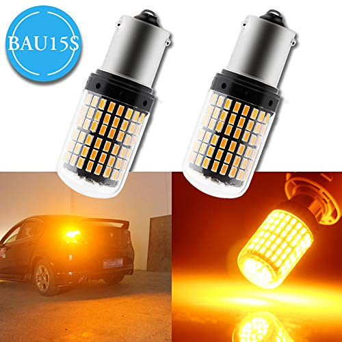 Grandview 2pcs Amber BAU15S LED Turn Signal Bulbs, 7507 1156PY PY21W LED  Canbus, Super Bright 144-3014-SMD 2800 Lumens, Only Used for Turn Signal