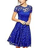 Yigoo Festliche Elegant Kleider Damen Festlich Hochzeit Spitzenkleider Vintage Abendkleid Cocktailkleid A-Linie Knielang Kurzarm Blau 2XL