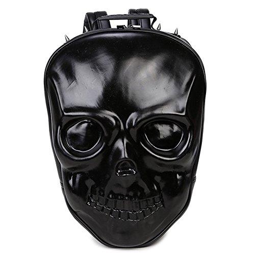 Etach nuevo estilo 3d hombres de calavera Fashion de piel sintética mochila personalizada bolsa de viaje, negro