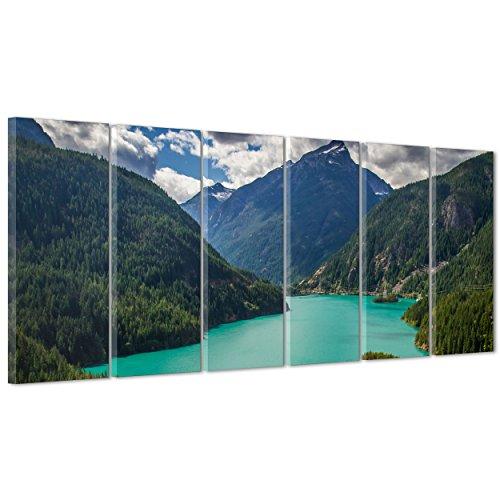 Bild auf Leinwand Canvas-Gerahmt-fertig zum Aufhängen-Diablo Lake North Cascades National Park-USA Amerika 190x70cm