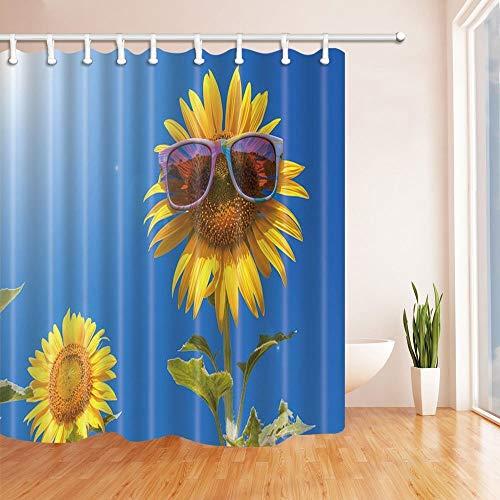 gohebe Abstrakt Dusche Vorhänge Sonnenblumen mit Sonnenbrille unter Polyester-Blue Sky-Wasserdicht Badezimmer Vorhang Vorhang für die Dusche Badewanne Haken enthalten 180,3x 180,3cm