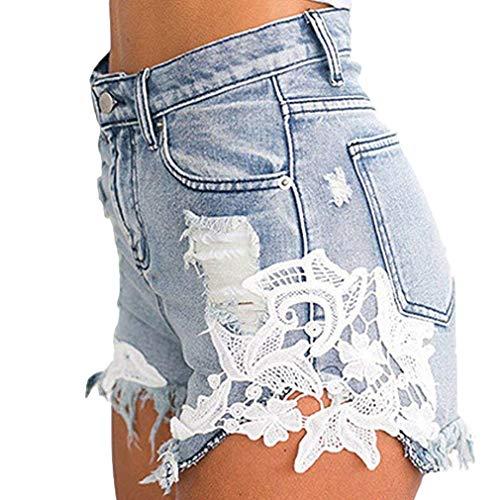 Yying donna pantaloncini corti di jeans con nappe da donna jeans con cuciture di pizzo sexy jeans stretch a vita alta pantaloncini corti di jeans elasticizzati