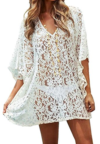 Minetom Donne Epoca Ricamato Floreale All'Uncinetto V Neck Mini Abito In Pizzo beach coprire cover up