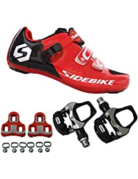SIDEBIKE Zapatillas de Ciclismo con Pedales y Calas, Zapatos de Bicicleta de Carretera Ajustables,…