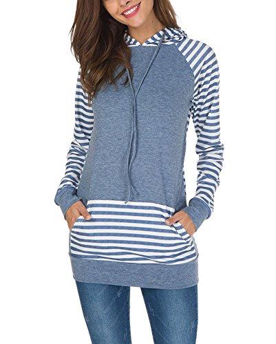 ShallGood Damen Gestreift Pulli Sweatshirts Hoodie Sport Langarm Reißverschluss Pullover Outerwear Blau DE 40 (Mens Jacket Flannel Hooded)