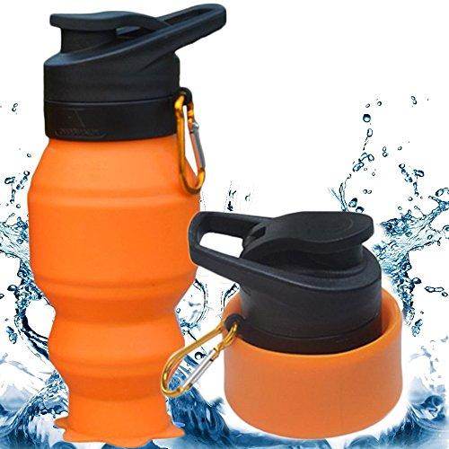 Faltbare Silikon-Flasche, 530ML CoolFoxx beweglicher + Leck-Beweis + Resuable + BPA frei + leicht + ungiftig + Nizza schauende Wasser-Schalen-Becher mit Karabiner, ideal für Turnhalle / im Freiensport / trave, beste Geschenke für Liebhaber oder Familien (orange)
