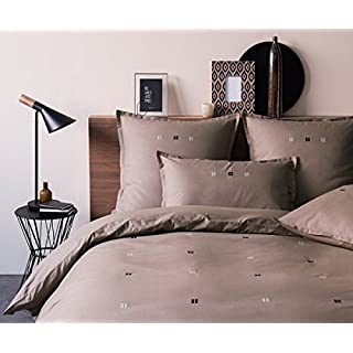 Alpes Blanc Embroidered Duvet Cover Set–220x240+ 2taies Square–Candy Delicious Mocha