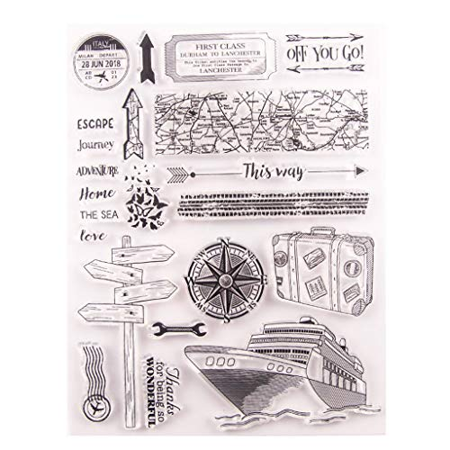 Hothap Silikonstempel Set - Kreuzfahrtschiff Pfeil - Clear Stamps - Stempel - Transparent - Vatertags Muttertags Abschluss Jahreszeit Geschenk -