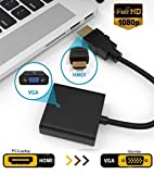 Microware 1080p Hdmi Male to VGA Female Video Converter Adapter Cable for Pc DVD Hdtv