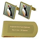 Aves frailecillos de tono Oro gemelos Money Clip grabado Set de regalo