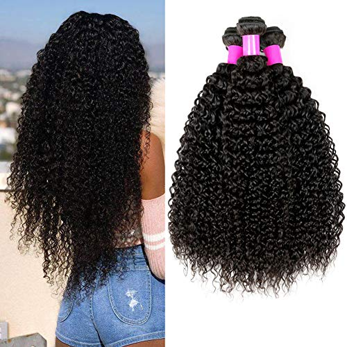 UR Beautiful Human Hair Brazilian Hair 3 Bundles 100% Brazilian Remy Curly Hair Brasilianische Haare Kinky Curly Human Hair Bundles Natural Black Color 14 16 18 Zoll Total 300g