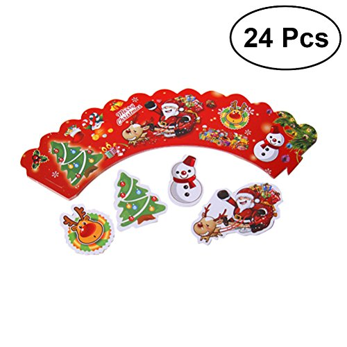 ULTNICE Christmas Cupcake Liner Cupcake Wraps Snowman Paper Cupcake Holderswith Toppers 12pcs