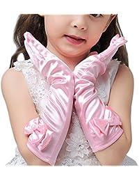 L-Peach Guantes Largos de Vestido de Satén para Boda Fiesta Cumpleaños para Niñas 3-10 años