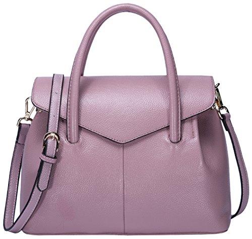 BOYATU Damen Handtaschen aus Leder Stilvoller Top Handle Beutel Einkaufstasche Pink