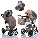 LCP Kids 3in1 Kombikinderwagen Komplettset mit Babyschale; Farbe Braun