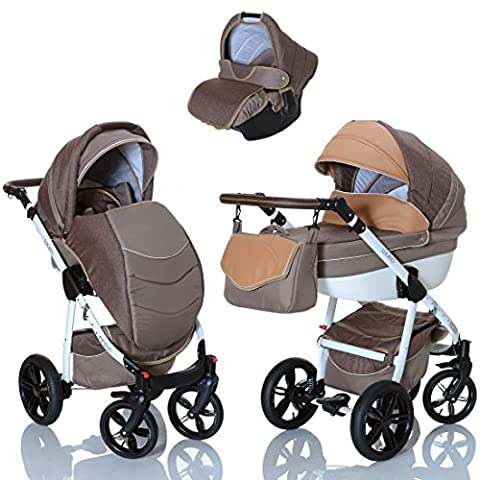 LCP Kids Poussette combinee 3en1 LUCATO eco cuir pour bebe et enfant 0-36 moins pliable avec module canne et siege auto groupe 0+ du 0 a 13 kg - marron
