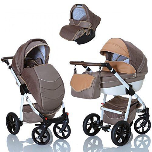 LCP Kids Poussette combinee 3en1 LUCATO eco cuir pour bebe et enfant 0-36 moins pliable avec module canne et siege auto groupe 0+ du 0 a 13 kg
