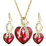 Offerte di liquidazione, Fittingran donne cuore di cristallo strass catena d'argento ciondolo collana + orecchini gioielli set regalo romantico