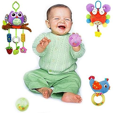 Goldore Baby Sveglio della peluche Campanella Anello B & B Passeggino Appease Sonagli Uccello granchio Gufo e le palle 5 articoli / set