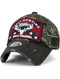 ililily GREAT HUNTING Flag Patch Camo Vintage Trucker Distressed Baseball Cap