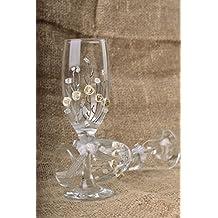 Copas de boda para cava hechas a mano con pintura y molduras 2 articulos