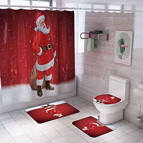 Loao, set da 4 pezzi, tenda da doccia con motivo Babbo Natale, tappetino da bagno, copertura per WC, 4 pezzi, antiscivolo e impermeabile, A, Set da 4 pezzi