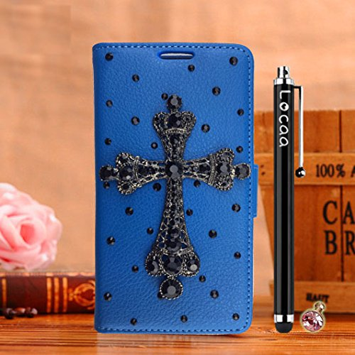 Locaa(TM) Pour Apple IPhone 7 Plus IPhone7+ (5.5 inch) 3D Bling Case Coque Love Cuir Qualité Housse Chocs Étui Couverture Protection Cover Shell Phone Avec Nous [Couleur 3] Bowknot 2 - Noir Croix - Bleu