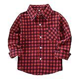 HAOKTY Jungen Mädchen Langarm Hemden Plaid Kariert Freizeithemd Tops Baumwolle Sweat Shirt (Color 8, 140)