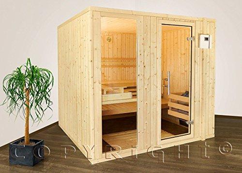 Sauna Massivholz 206 x 195 x 204 cm Sonderaktion mit Saunaofen Steuergerät