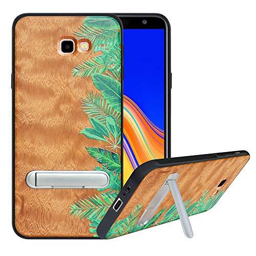 HHDY kompatibel mit Samsung Galaxy J4 Plus /J4 Prime / J4 Core Hülle,Metallständer Kickstand Handyhülle,Schutzhülle aus Hart Holz Soft TPU Bumper,Anti Scratch Wood Cover Case Handyhülle, Rainforest