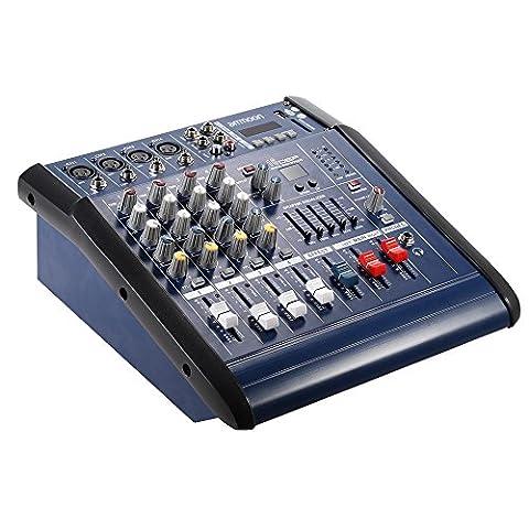 Ammoon 4Kanal DJ Mischpult Digital Mic Linie Audio Mixing Verstärker mit 48V Phantom Power 16Built-in Sound für die Aufzeichnung DJ Phase Karaoke Wertschätzung