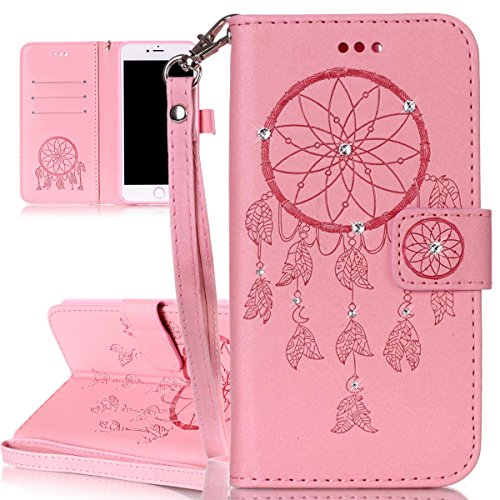 iPhone 7 Plus Cover, Custodia per Apple iPhone 7 Plus, ISAKEN Custodia Fiore e Ragazza Design PU Pelle Book Folding Case Glitter Bling Cover, Supporto Stand e Porta Carte Integrati Portafoglio Flip Co deamcatcher:rosa