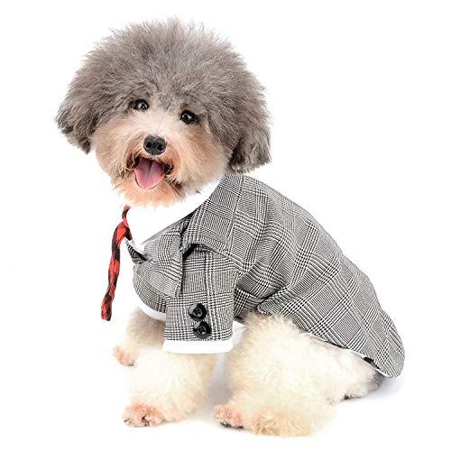 Kostüme Pet Plaid Suit Puppy Party Kleidung mit Krawatte Formale Gentleman Apparel Katze Tux Shirt für Hochzeit YAWJ (Color : Houndstooth, Size : M) ()