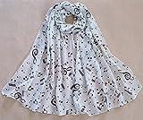 Da.Wa Les Femmes en Mousseline de Soie Imprimé Note de Musique écharpe Longue de Soie(blanc?