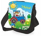 Mein Zwergenland Kinder Umhängetasche Mini Reporter mit Namen, 2 L, schwarz, Traktor